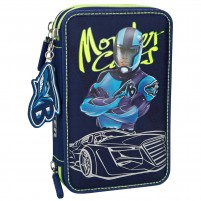 Estuche triple Monster Cars