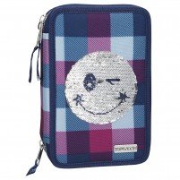 Estuche triple TopModel SMILEY Azul