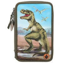 Estuche triple Dino World con LED