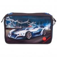 Estuche triple Monster Cars con LED