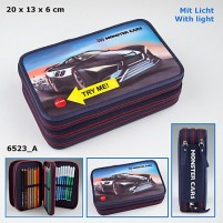 Estuche Triple Monster Cars luz LED